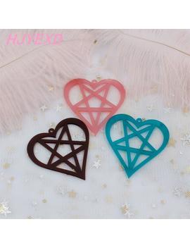 """50mm Acrylic Earrings Star Heart Earrings Purple, Black, Dark Blue Mirro Frog Earrings Laser Cut 2""""  Ac1190 by Ali Express.Com"""