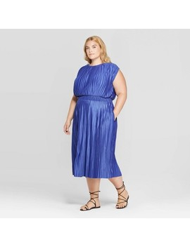 Women's Plus Size Short Sleeve Crewneck Pleated Cinched Waist Midi Dress   Prologue™ by Prologue