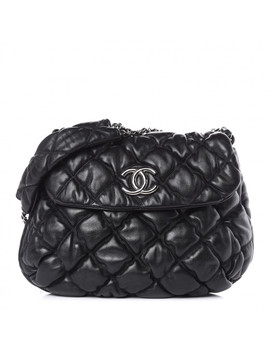 Chanel Lambskin Bubble Quilt Flap Bag Black by Chanel