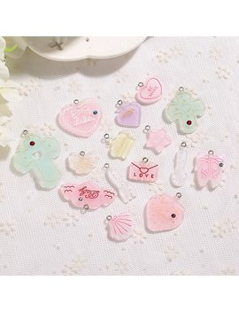 21pcs Cute Heart Moon Charms Flat Back Resin Charms Necklace Pendant Earring Charms For Diy Decoration by Ali Express.Com