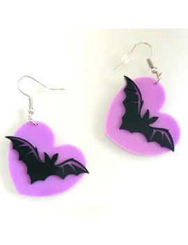 Lovely Purple Peach Heart Black Bat Funny Acrylic Drop Earrings For Female Fashion Halloween Creative Animal Dangle Earrings by Ali Express.Com