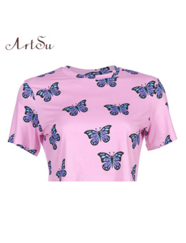 Art Su Butterfly Printed Kawaii Pink Top Woman Shirts Casual Short Sleeve Best Friend T Shirt Cute Funny T Shirts Women Asts20748 by Ali Express.Com