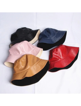 2018 Leatehr Solid Warm Two Sides Bucket Hat Fisherman Hat Sun Cap Hats For Men And Women 480 by Ali Express.Com