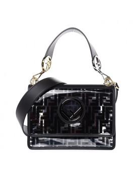 Fendi Tpu Ff Glass Vitello Kan I Logo Shoulder Bag Black by Fendi