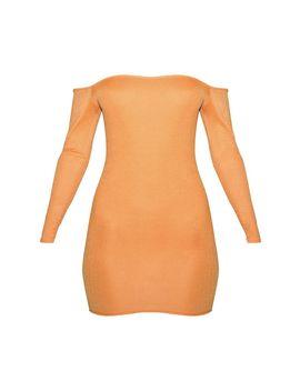 Orange Jersey Bardot Bodycon Dress by Prettylittlething
