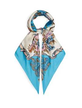 Floral And Tassel Print Silk Faille Scarf by Gucci