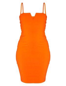 Orange Woven V Detail Strappy Midi Dress by Prettylittlething