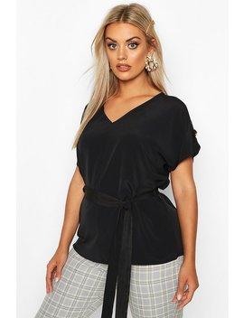 Plus V Neck Tie Waist Button Shoulder Woven Blouse by Boohoo