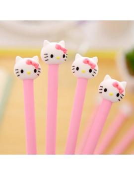 4 Pcs Hello Korean Stationery Cartoon Cute Kitty Pen Advertising Pink Gilrs Gel Pen School Fashion Office Kawaii Supply by Ali Express.Com