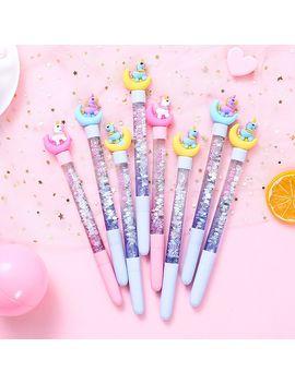 1 Pc Cute Stationery Unicorn Quicksand Gel Pen Creative Girl Star 0.5mm Unicorn Pen Kawaii School Supplies by Ali Express.Com