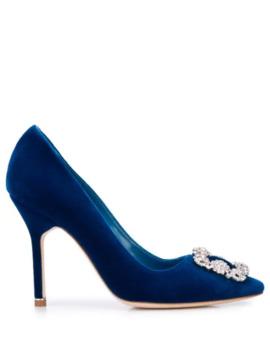 Embellished Buckle High Heel Pumps by Manolo Blahnik