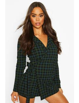 Tartan Check Tailored Jersey Playsuit by Boohoo