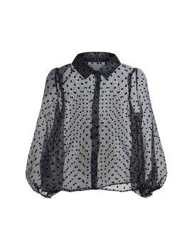 Black Polka Dot Organza Shirt  by Prettylittlething
