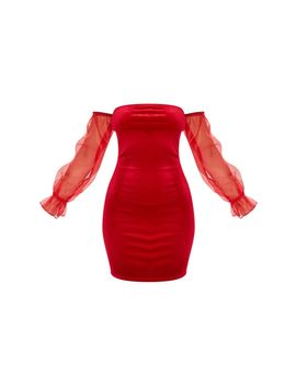 Red Organza Bardot Sleeve Velvet Bodycon Dress by Prettylittlething