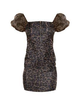 Brown Leopard Print Organza Sleeve Zip Through Bodycon Dress  by Prettylittlething
