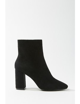 Faux Suede Square Toe Booties by Forever 21
