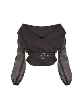 Black Bardot Organza Sleeve Crop Top by Prettylittlething