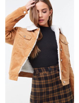 Corduroy Faux Shearling Jacket by Forever 21