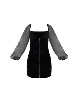 Black Velvet Organza Sleeve Zip Through Bodycon Dress by Prettylittlething