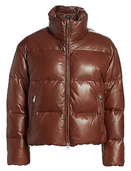 Iris Boxy Fit Leather Puffer Jacket by La Marque