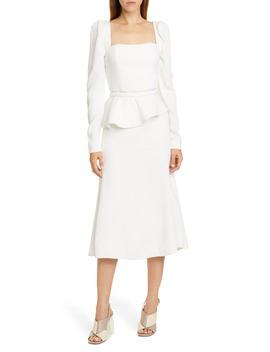 Crinkle Long Sleeve Midi Dress With Removable Peplum by Johanna Ortiz