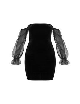 Black Organza Bardot Sleeve Velvet Bodycon Dress by Prettylittlething