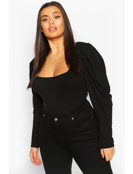Plus Puff Sleeve Square Neck Jumper by Boohoo
