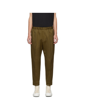 Tan Drill Tapered Trousers by Jil Sander