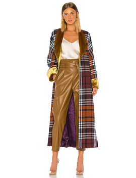 Plaid And Yellow Velvet Cloak In Boysenberry Plaid by Divine Heritage