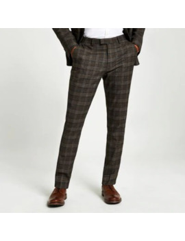 Brown Heritage Check Skinny Suit Trousers by River Island