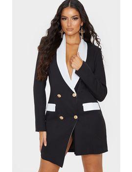 Black Gold Button Contrast Blazer Dress by Prettylittlething
