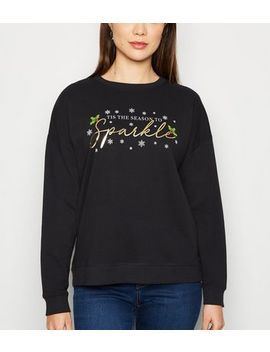 Black Tis The Season To Sparkle Christmas Jumper by New Look