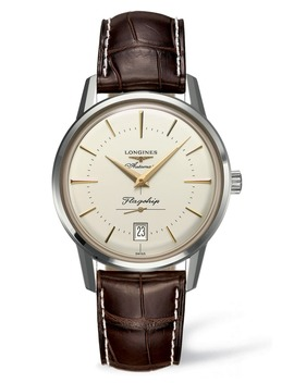 Flagship Heritage Automatic Leather Strap Watch, 38.5mm by Longines