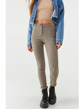 Plaid Striped Ankle Pants by Forever 21