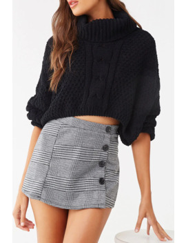 Buttoned Glen Plaid Skort by Forever 21