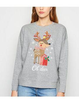 Grey Christmas Oh Deer Slogan Sweatshirt by New Look