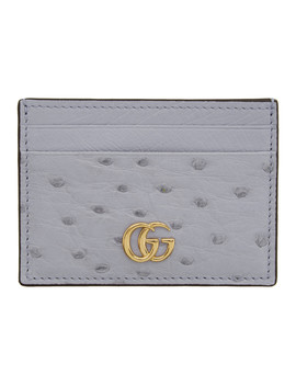 Blue Small Ostrich Marmont Card Holder by Gucci