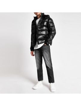 Black Prolific Tape Hooded Puffer Jacket by River Island