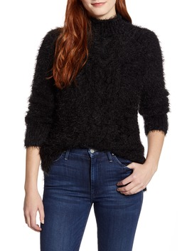 Eyelash Cable Knit Funnel Neck Sweater by Caslon