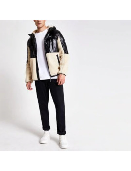 Black Blocked Borg Prolific Hooded Jacket by River Island