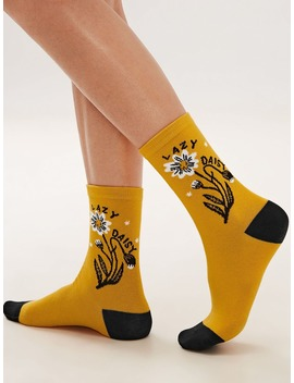 1pair Daisy Graphic Socks by Romwe
