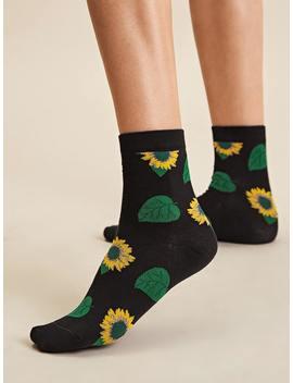 1pair Sunflower Pattern Socks by Romwe