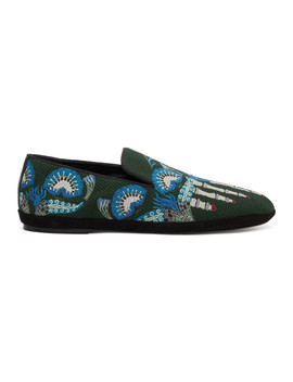Green William De Morgan Canvas Toes Loafers by Loewe
