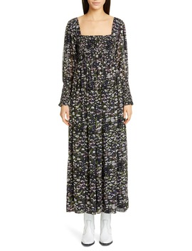 Floral Print Long Sleeve Georgette Maxi Dress by Ganni