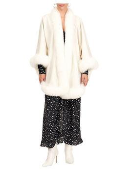 Gorski Fur Trim Wool Capelet by Gorski