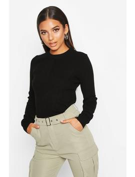 Crew Neck Rib Knitted Jumper by Boohoo