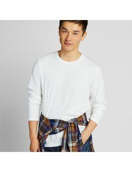 Men Supima® Cotton Crew Neck Long Sleeve T Shirt by Uniqlo