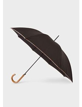 Black Signature Stripe Border Walker Umbrella With Wooden Handle by Paul Smith