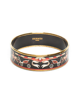 Hermès Gold Plated Red Enamel Wide Carriage Bangle by Hermes