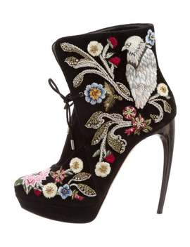 Embroidered Platform Booties by Alexander Mc Queen